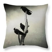 Abstract Crows In A Tree Throw Pillow
