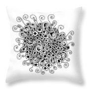 Abstract Curly Design In Black And White Throw Pillow