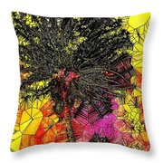 Abstract Dandelion Stained Glass Throw Pillow