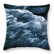 Abstract Dark Waves On The River Throw Pillow