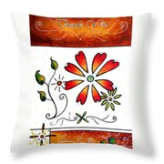Abstract Decorative Greeting Card Art Thank You By Madart Throw Pillow