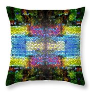 Abstract Digital Shapes Colourful Stained Glass Texture Throw Pillow
