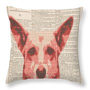 Abstract Dog On Dictionary Throw Pillow