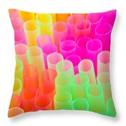 Abstract Drinking Straws Throw Pillow by Meirion Matthias