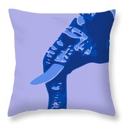 Abstract Elephant Doll Blue Throw Pillow