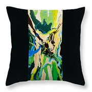 Abstract Flow Green-blue Series No.1 Throw Pillow