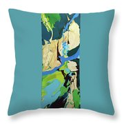 Abstract Flow Green-blue Series No.2 Throw Pillow