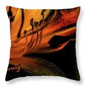 Abstract Flower Golden Red Throw Pillow