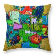Abstract Flowers On Gold Contemporary Impressionist Palette Knife Oil Painting By Ana Maria Edulescu Throw Pillow