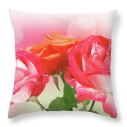 Abstract Flowers Spring Background Throw Pillow