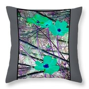 Abstract Flowrs In Green And Blue Throw Pillow