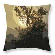 Abstract Foggy Sunrise Throw Pillow