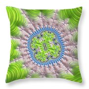 Abstract Fractal Art Greenery Rose Quartz Serenity Throw Pillow