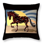 Abstract Geometric Futurist Horse Throw Pillow
