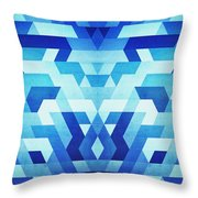 Abstract Geometric Triangle Pattern Futuristic Future Symmetry In Ice Blue Throw Pillow