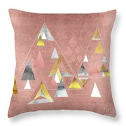 Abstract Geometric Triangles, Gold, Silver Rose Gold Throw Pillow
