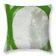 Abstract Green Circle 2- Art By Linda Woods Throw Pillow
