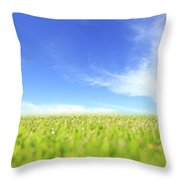 Abstract Green Field And Blue Sky Throw Pillow