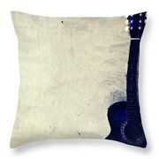 Abstract Guitar In The Foreground Close Up On Watercolor Painting Background. Throw Pillow