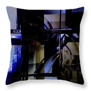 Abstract In Blue-dark Towers Throw Pillow