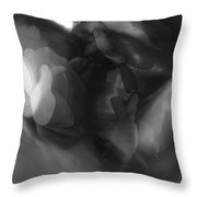 Abstract In Floral # 8 In Black And White. Throw Pillow