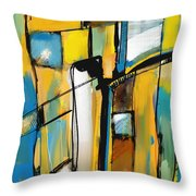 Abstract In Yellow And Blue Throw Pillow