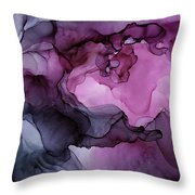 Abstract Ink Painting Plum Pink Ethereal Throw Pillow