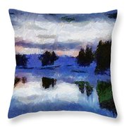 Abstract Invernal River Throw Pillow