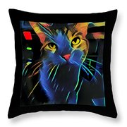 Abstract Kitty Throw Pillow