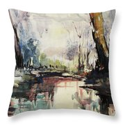 Original Watercolor Painting. Abstract Watercolor Landscape Painting Throw Pillow