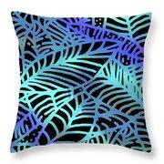 Abstract Leaves Black Aqua Throw Pillow