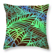 Abstract Leaves Cocoa Green Throw Pillow