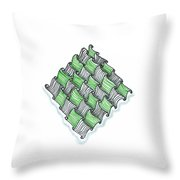 Abstract Line Design In Black And Green Throw Pillow