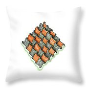 Abstract Line Design In Black And Orange Throw Pillow
