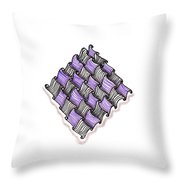 Abstract Line Design In Black And Purple Throw Pillow