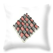 Abstract Line Design In Black And Red Throw Pillow
