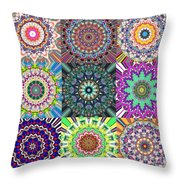 Abstract Mandala Collage Throw Pillow