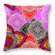 Abstract Mandala Floral Design Throw Pillow