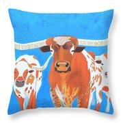 Abstract Mehndi Texas Longhorns Throw Pillow
