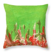 Abstract Mirage Cityscape In Green Throw Pillow