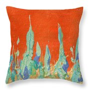 Abstract Mirage Cityscape In Orange Throw Pillow