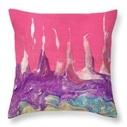 Abstract Mirage Cityscape In Pink Throw Pillow by Julia Apostolova