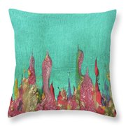 Abstract Mirage Cityscape In Turquoise Throw Pillow by Julia Apostolova