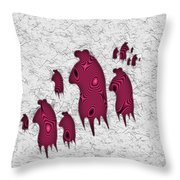 Abstract Monster Cut-out Series - Red Rally Throw Pillow