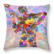 Abstract Musican Guitarist Throw Pillow