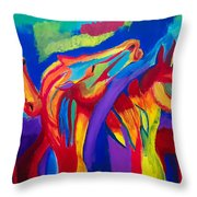 Abstract Mustangs Throw Pillow