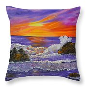 Abstract Ocean- Oil Painting- Puple Mist- Seascape Painting Throw Pillow