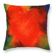 Abstract Orange Heart 2 Throw Pillow