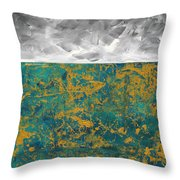 Abstract Original Painting Contemporary Metallic Gold And Teal With Gray Madart Throw Pillow