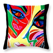 Abstract Painting - Woman Of Colors Throw Pillow